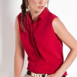 Kolsuz Bluz Yazlık Bordo Renk Kombinler
