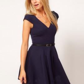 Lacivert V Yaka Elbise Modelleri
