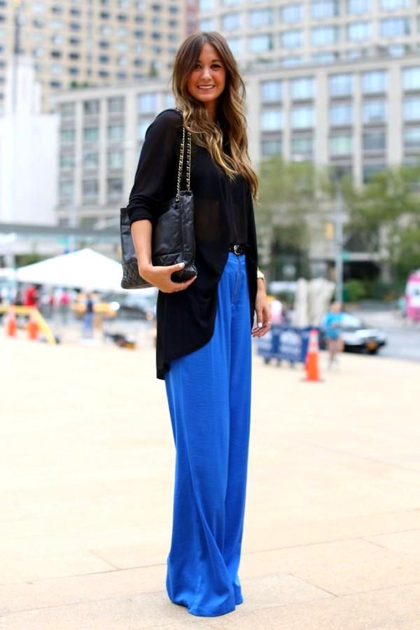 Saks Mavisi Bol Kesim Pantolon Kombinleri