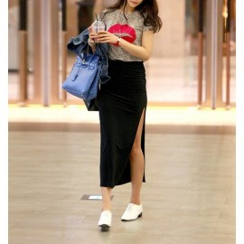 Siyah 2015 Yırtmaçlı Uzun Etek Modelleri