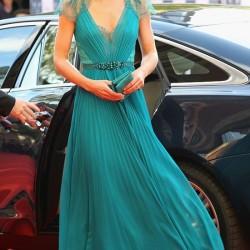 Turkuaz V Yaka Elbise Modelleri