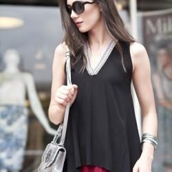 V Yaka Siyah 2015 Kolsuz Bluz Modelleri