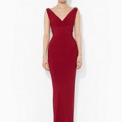Vişne V Yaka Elbise Modelleri