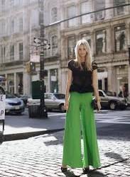 Yeşil bol paça pantolon kombini