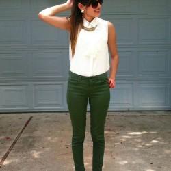 2015 Asker Yeşili Pantolon Kombinleri