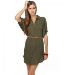 Asker Yeşili Gömlek Elbise Modelleri
