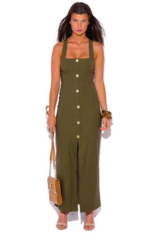 ef7ea6527574b Düğmeli Asker Yeşili Elbise Modelleri