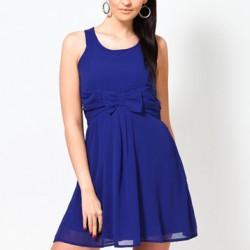 En Şık Saks Mavisi Kloş Elbise Modelleri