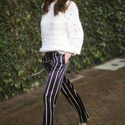 En Yeni Çizgili Pantolon Kombinleri