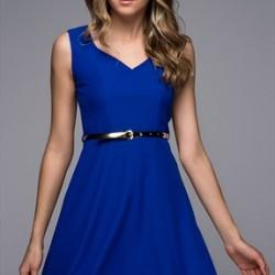 Kemerli Saks Mavisi Kloş elbise Modelleri