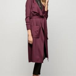 Mürdüm Eriği Renginde Uzun Vavist Ceket Modeli