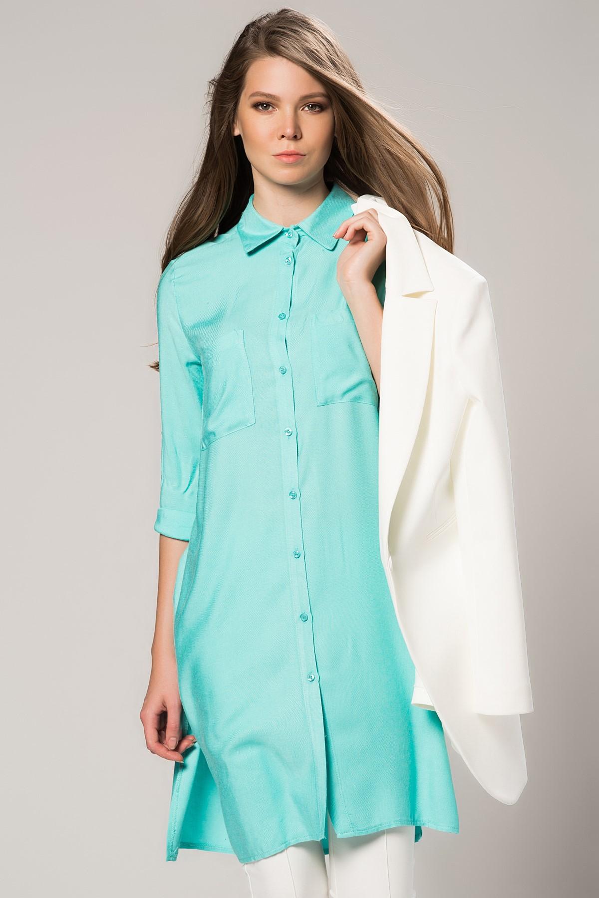 Mint Yeşili Vavist Tunik Modeli