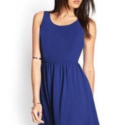 Saks Mavisi Kısa Kloş Elbise Modelleri