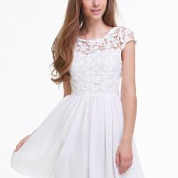 Yeni Sezon Pileli Beyaz Elbise Modelleri