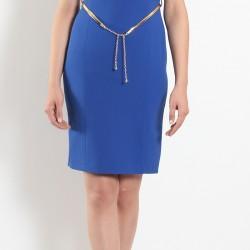 Yeni Sezon Saks Mavisi Ekol Elbise Modeli