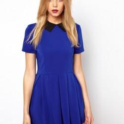 Yeni Sezon Saks Mavisi Kloş Elbise Modelleri