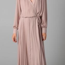Çok Güzel Pileli Günlük Uzun Elbise Modeli