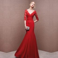 2016 Kolları İşlemeli Kırmızı Abiye Modeli