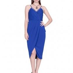 Askılı Saks Mavisi Elbise Modeli