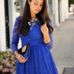 Dantel süslemeli saks mavisi elbise modelleri