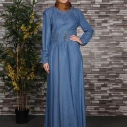 En Şık Tesettür Kot Elbise Modelleri