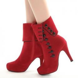 En Farklı Kışlık Kırmızı Renkli Bayan Ayakkabı Modelleri