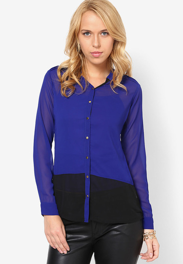 En Güzel Saks Mavisi Bayan Gömlek Modelleri