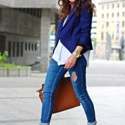 En Tarz Bayan Ceket ve Kot Pantolon Kombinleri