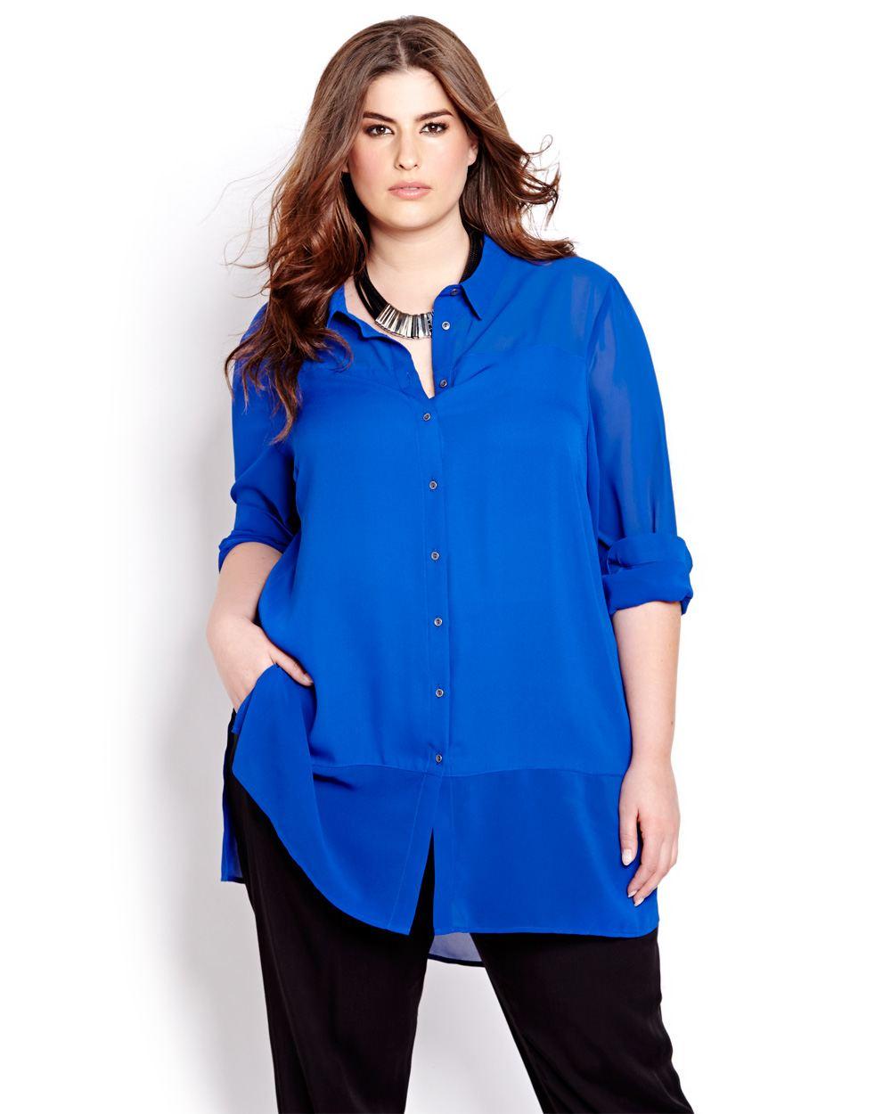 En Tarz Saks Mavisi Bayan Gömlek Modelleri