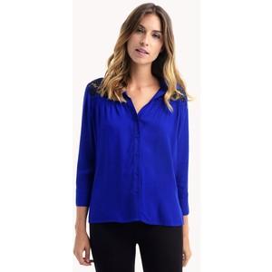 En Zarif Saks Mavisi Bayan Gömlek Modelleri 2016
