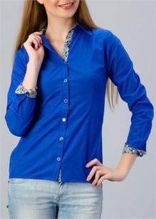 Gece Mavisi Bayan Gömlek Modelleri