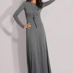 Gri Renkli Çok Şık Günlük Uzun Elbise Modelleri