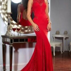 Kırmızı Renkli Dantel Abiye Modelleri