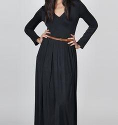 Kemer Detaylı siyah Renkli Günlük Uzun Elbise Modelleri