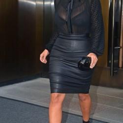 Kim Kardashian Deri Etek Kombini