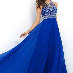 Süslemeli saks mavisi elbise modelleri
