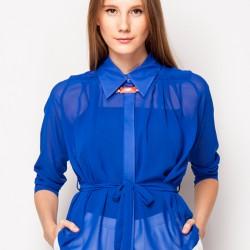 Saks Mavisi Şifon Gömlek Modelleri