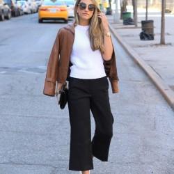 Siyah renkli kısa paça pantolon kombinleri