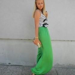 Yeşil şalvar pantolon kombin modeli
