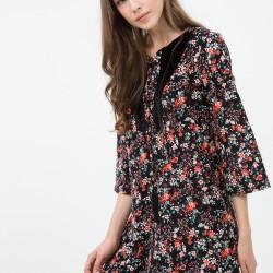 Çiçek Desenli Koton Elbise Modelleri