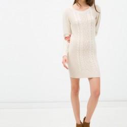 En Zarif Örgü Desenli Koton Elbise Modelleri