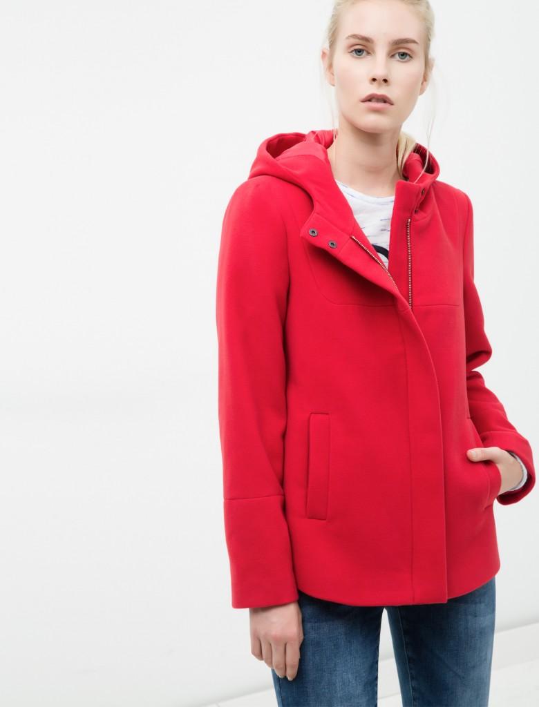 Kırmızı Renkli Koton Bayan Mont Modelleri