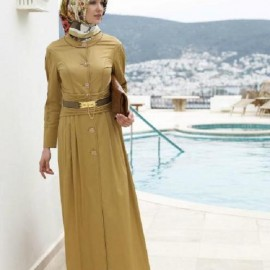 Kemer Detaylı Tesettür Gece Elbise Modelleri