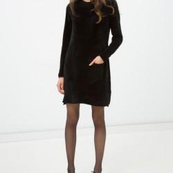 Siyah Renkli Uzun Kollu Koton Elbise Modeli