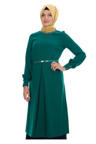 Zümrüt Yeşili Armine Tesettür Tunik Modeli