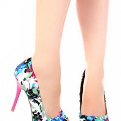 Çiçek Desenli Renkli Topuklu Ayakkabı Modeli