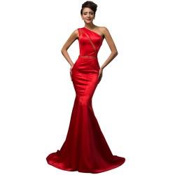 Balık Etek Parlak Kırmızı Abiye Modeli