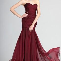 En Güzel Bordo Renkli Abiye Modelleri