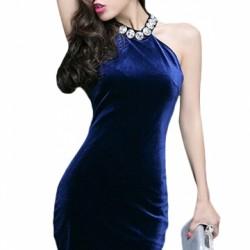 Gece Mavisi Kadife Abiye Elbise Modelleri 2016
