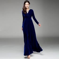 Mavi Renkli Kadife Elbise Modelleri 2016